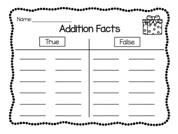 Addition Facts: Thumbs Up or Thumbs Down (true or false)