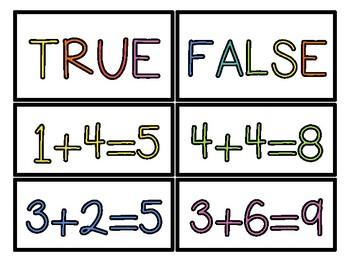 Addition Facts True False Sort