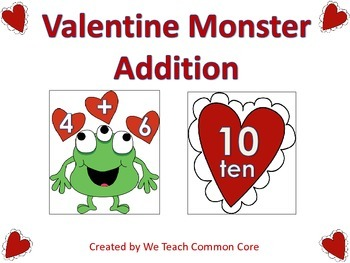 Addition Facts Valentine Monster Math Center Activity