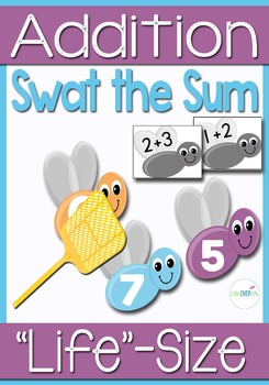 Addition Facts Within 10 Swat the Sum Life-Size Activity and Center