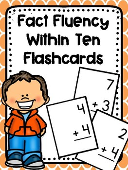 Addition Facts Within Ten Fluency Flashcards