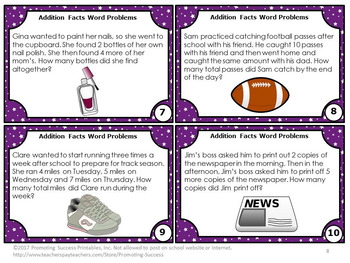 Addition Word Problems Task Cards, 1st Grade Math Centers, Addition Activities