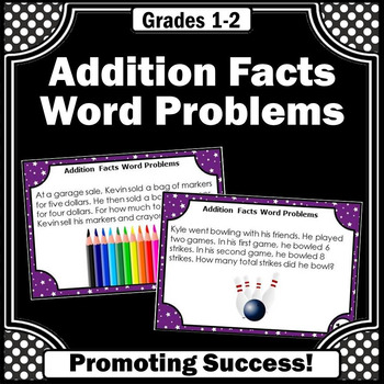 Addition Facts Word Problems Task Cards for Math Center Ga