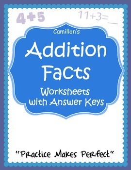Addition Facts Worksheets with Answer Keys