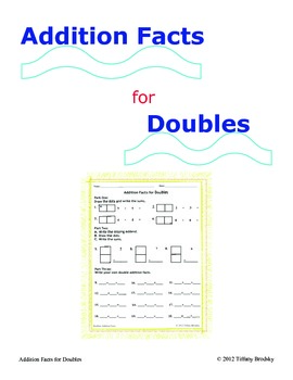 Addition Facts for Doubles Three Part Sheet Bell Ringer, Homework, Classwork