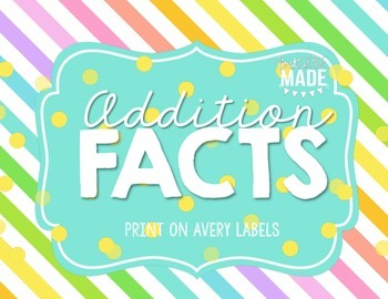 Addition Facts (0-11) on Avery Labels
