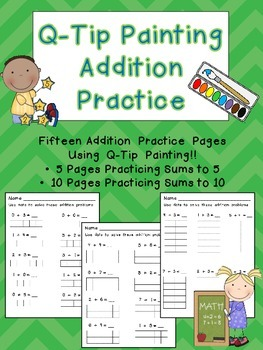 Addition Facts to 10 Q-Tip Painting Pages- Kindergarten Math Common Core