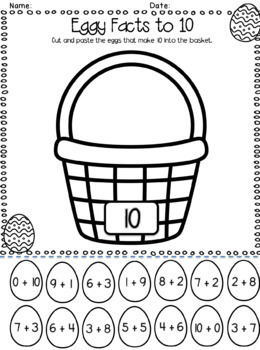 Addition Facts to 10 - Spring-tastic Worksheet Pack