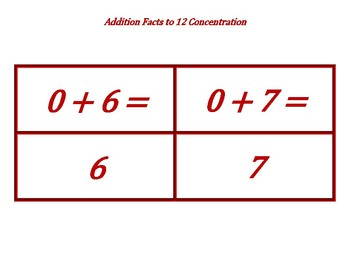 Addition Facts to 12 Concentration