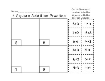 Addition Facts to 12: Cut & Glue Practice