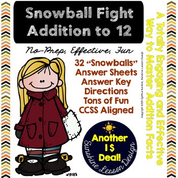 Addition Facts to 12 Snowball Fight! Print, Cut, Crumble, Learn! A Top Tool!