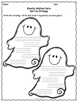 Addition Fact Strategies Activity Ghost Theme