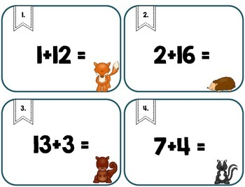 Addition Facts to 20 Scoot, Adding, Kindergarten, First, Intervention