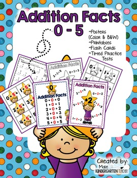 Addition Fact Fluency to 5: Posters, Printables, and Flash Cards - K.OA.5