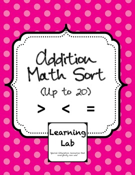 Addition Facts (up to 20) Math Sort