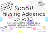 Addition Facts up to 30-Missing Addends Scoot Game Task Cards