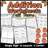Fall Addition Worksheets  {Kindergarten} - Math - Distance Learning