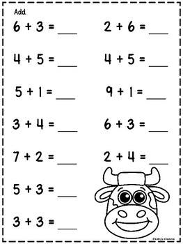 Addition Farm Sums To 10