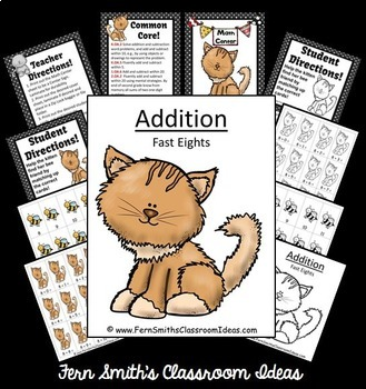 Addition Center Game Add Fast Eights A Quick and Easy to Prep Center Bundle