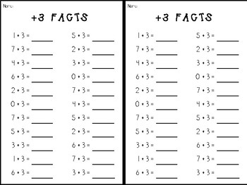 Addition Fast Fact Fluency Tests