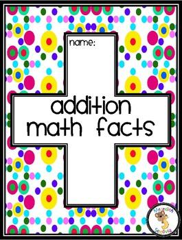 Addition Math Fast Fact Tracker
