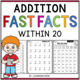 Simple Addition Fast Facts Fluency to 20 Worksheets Kindergarten First Grade