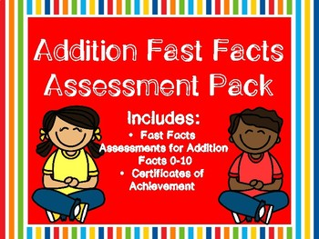 Addition Fast Facts Assessment Pack