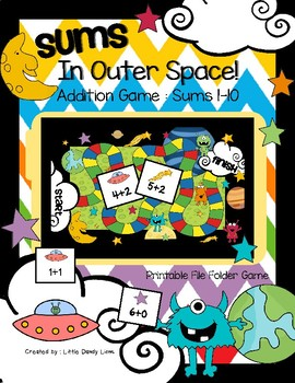 Addition File Folder Game for Kindergarten - Sums In Outer Space!