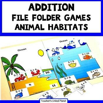 Addition Games - File Folder Animal Habitats Bundle!
