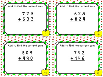 Addition Files - Adding with 3 Digit Addends WITHOUT Regrouping Task Cards