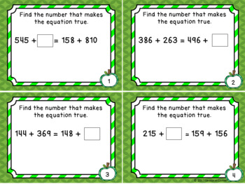 Addition Files - Balance the Equation 3 Digit Addends  Task Cards