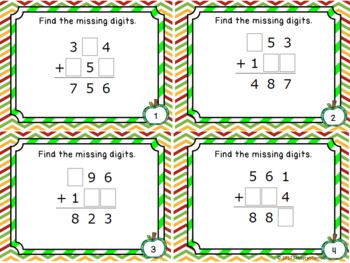 Addition Files - Find the Missing Numbers  with 3 digit Addends Task Cards