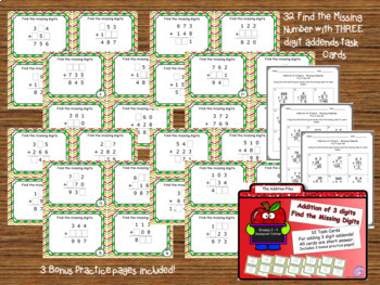 Addition Files - Three Digit Addition Task Cards Bundle