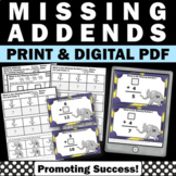 Missing Addends Task Cards, Addition Worksheets, Kindergarten Math Review