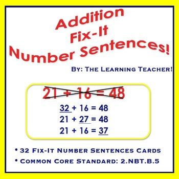Fix-It Number Sentences (Addition) Task Cards!