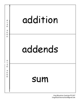 Addition Flap Book