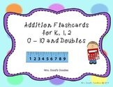Addition Flash Cards (0-10, Doubles) Animal Theme