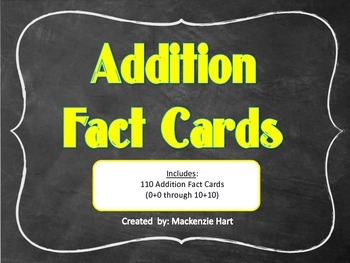 Addition Flash Cards: 0 - 10 Facts