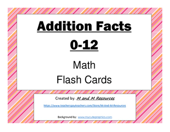 Addition Flash Cards: 0-12