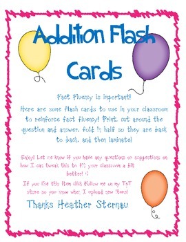 Addition Flash Cards 0 - 12 with answers on back