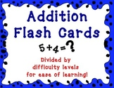 Addition Flash Cards - 4 Difficulty Levels - Adding up to 20
