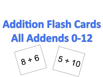 Addition Flash Cards (All addends 0-12)