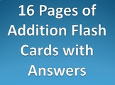 Addition Flash Cards Cutouts with Bonus Vocabulary Review