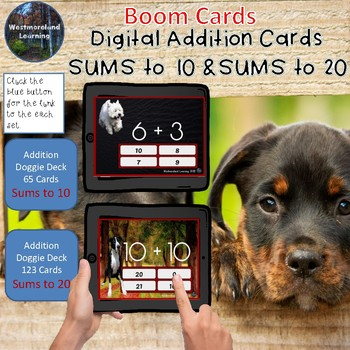 Addition Flash Cards Sums to 10 & Sums to 20 Digital Boom Card Sets Dog Theme