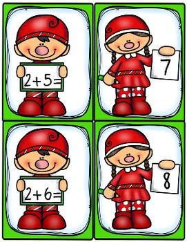 Addition Flash Cards; Elf Edition