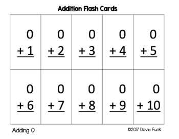 Addition Flash Cards Fact Practice FREEBIE