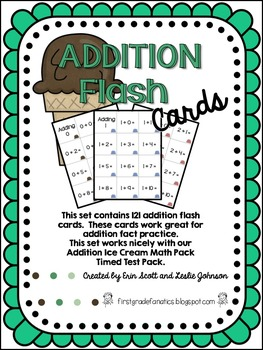Addition Flash Cards (Ice Cream Theme)