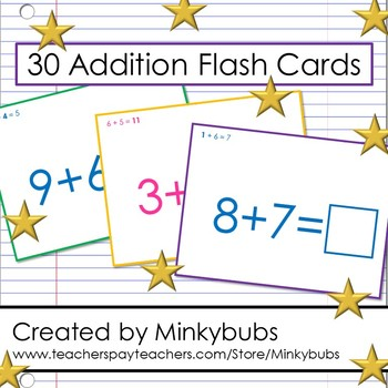 Addition Flash Cards Math Elementary Fun Set 60 problems 30 cards