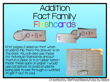 Addition Flash Cards Self Checking
