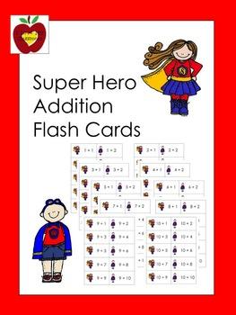 Addition Flash Cards (Super Hero)